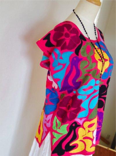 画像2: メキシコ刺繍ブラウス【トゥクステペック】ピンク